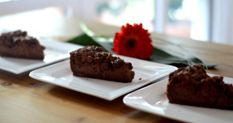 [cheesecake the other way around] Chocolate crumble cheesecake with caramel bottom