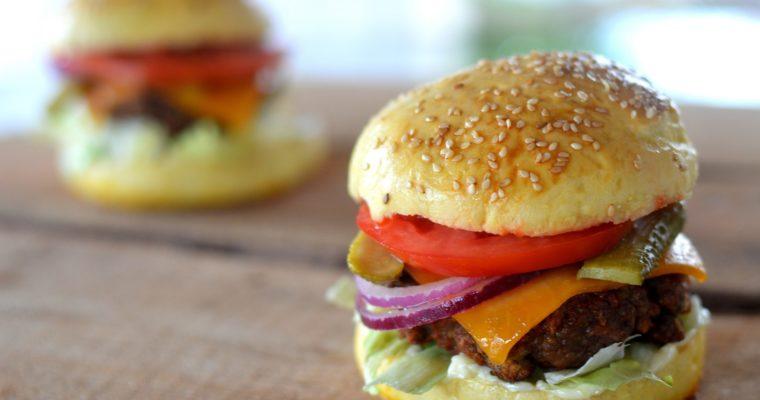 "[my personal ""slow food""] fantastic burger + homemade burger buns"